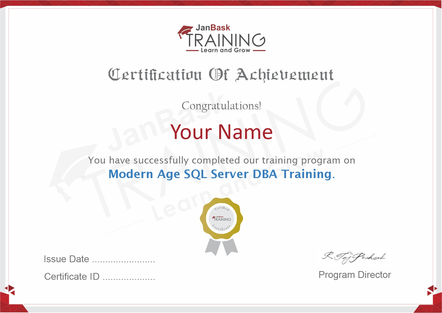 SQL DBA Training Certificate