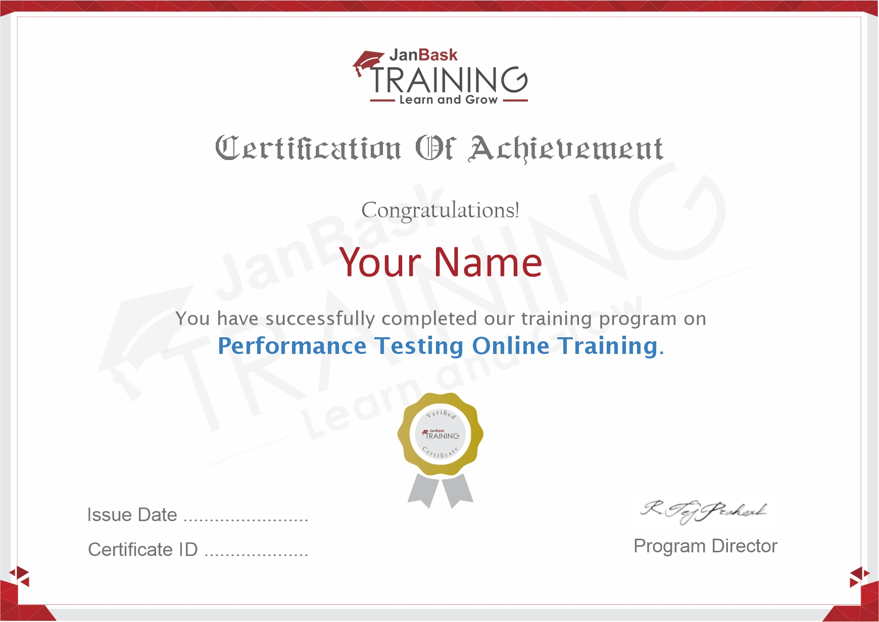 Performance Testing Certificate