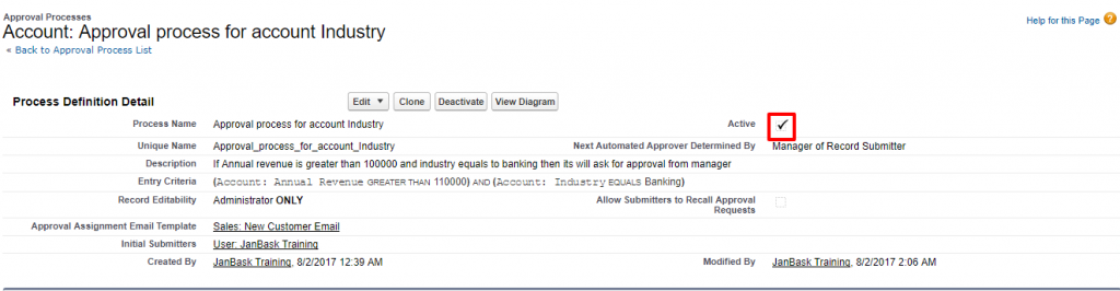 Approval Processes Account Approval process for account Industry Salesforce Developer Edition