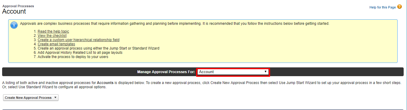 Approval Processes Account Salesforce Developer Edition