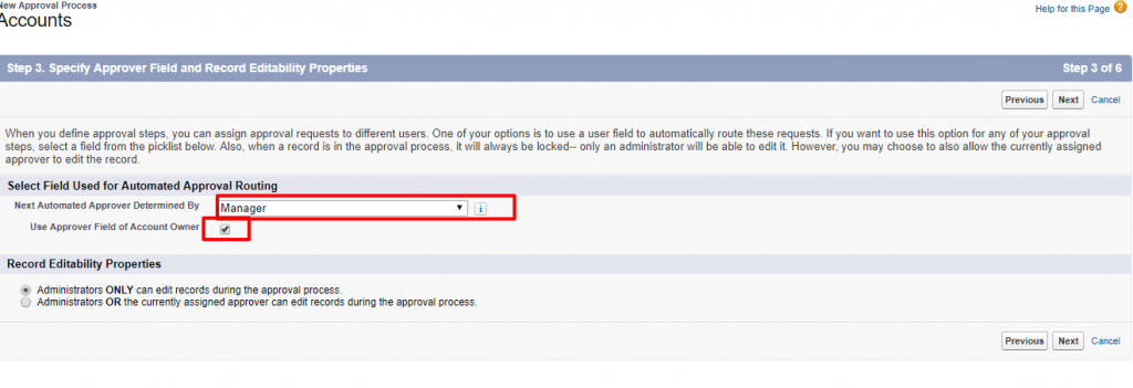 New Approval Process Accounts Salesforce Developer Edition