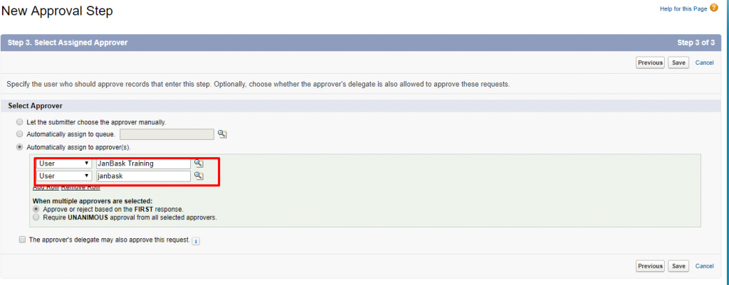 New Approval Step Salesforce Developer Edition