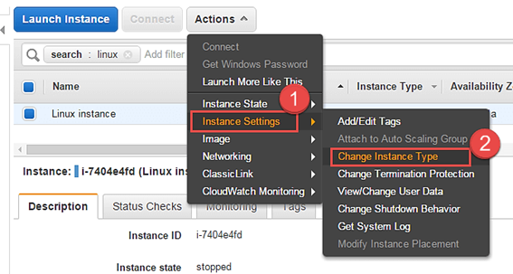 Change Instance EC2 Type Setting