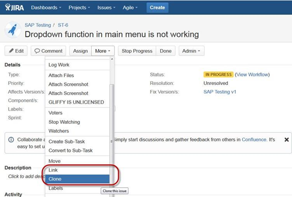 Use of Clone and Link in JIRA