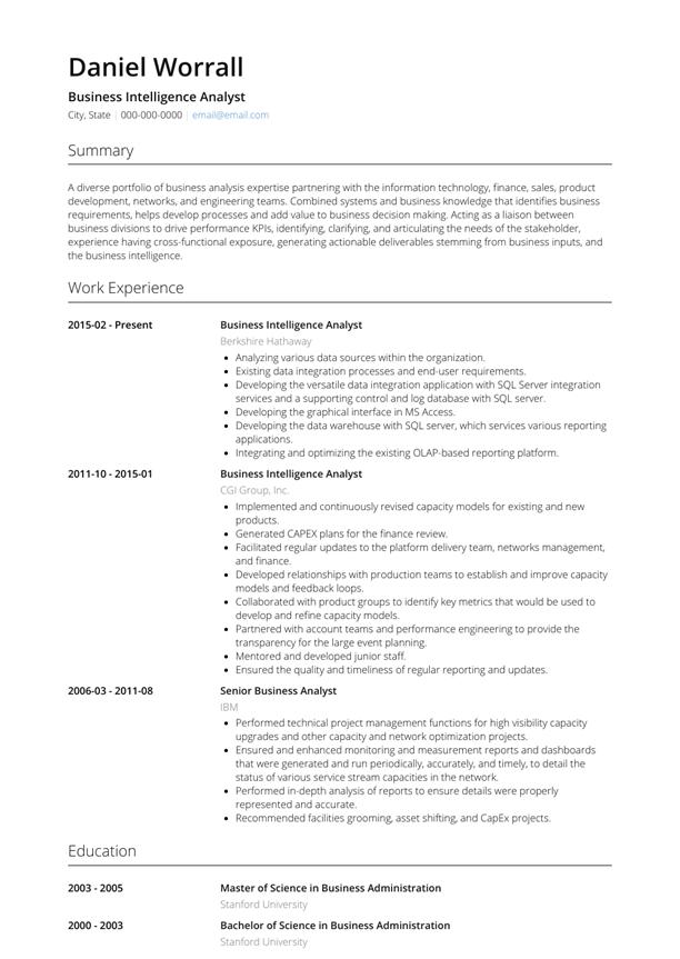 Senior Business Intelligence Analyst Resume Sample In Pdf Word Format