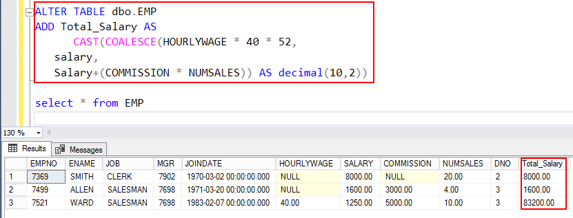 SQL Coalesce Function and column computation