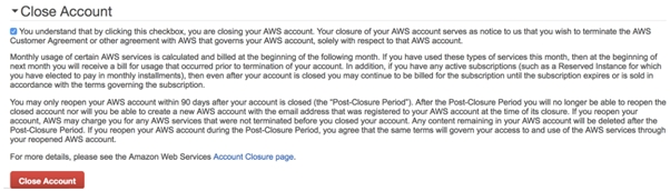 Delete AWS Account