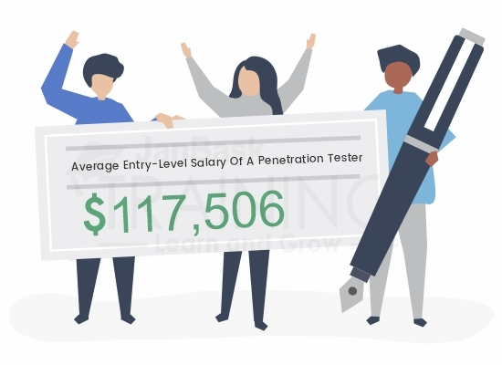 average entry-level salary of a penetration tester in the USA.